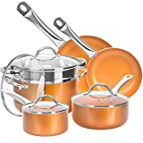 Shineuri Cookware Sets, Non-Stick Sauce/Frying/Skillet/Roasting Pots and Pans with Athermic Stainless Steel Handle, Apply to Electric, Gas, Ceramic, Induction, Pack-10, Non Toxic Kitchen Fry Basket