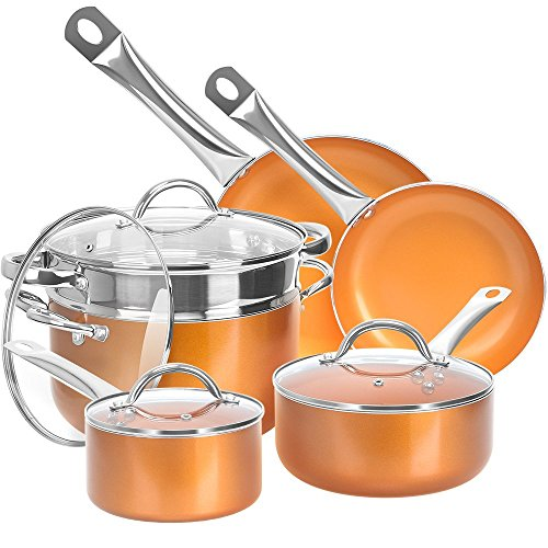 (Shineuri Cookware Sets, Non-Stick Sauce/Frying/Skillet/Roasting Pots and Pans with Athermic Stainless Steel Handle, Apply to Electric, Gas, Ceramic, Induction, Pack-10, Non Toxic Kitchen Fry Basket)