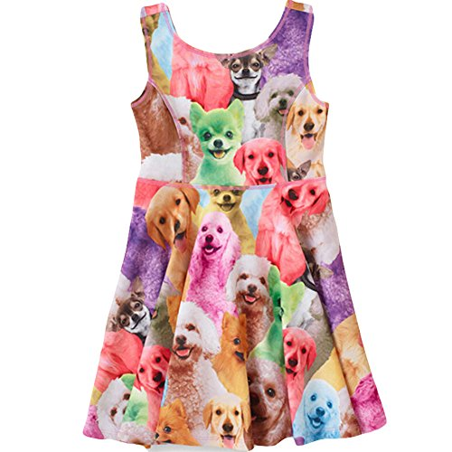 Yanzi6 Girl's Classical Printed Sleeveless Summer Dress (150cm(6-7 Years), Puppies) (Fancy Dress Free Delivery)