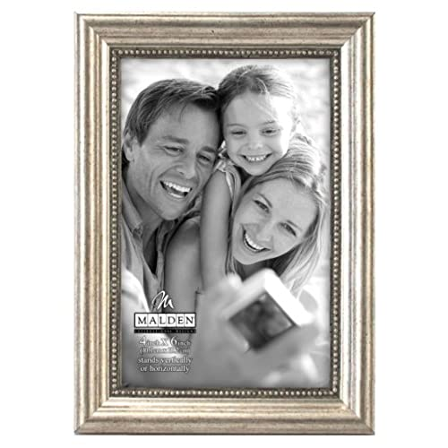 malden international designs classic wood picture frame 4 by 6 inch silver bead - Wood Frames Cheap