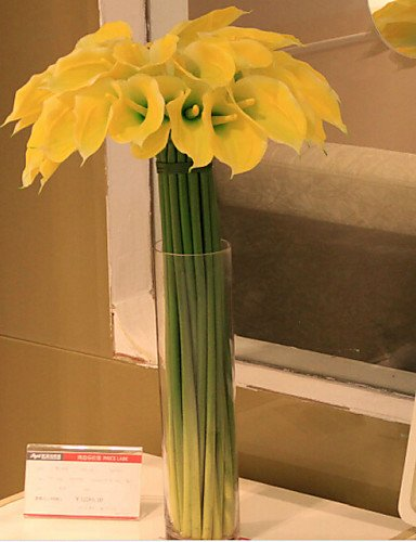 HUAHUA Artificial Flowers, Fashion Bouquets,The Silicone Callas Plastic/Silica Gel Calla Lily Artificial Flowers, Yellow