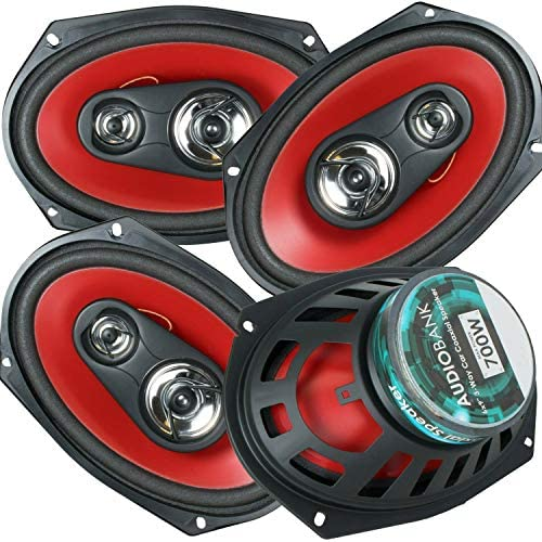 4X Audiobank 6×9 700 Watt 3-Means Pink Automobile Audio Stereo Coaxial Audio system – AB6970 (2 Pairs)