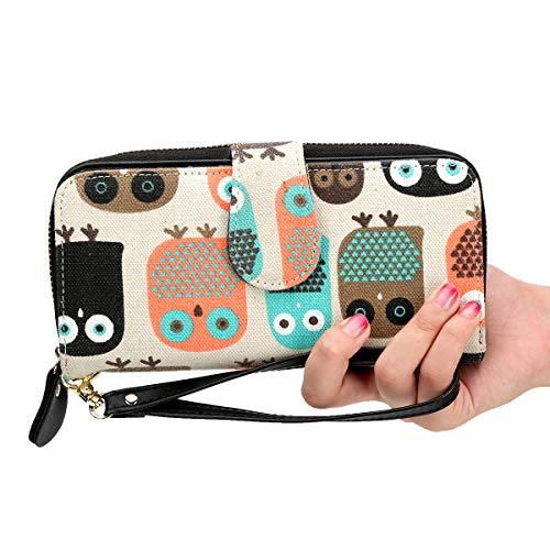 Friends Christmas Card - Women Wristlets Canvas Owl Wallet Zipper Purse Clutch Phone Card Holder Handbag
