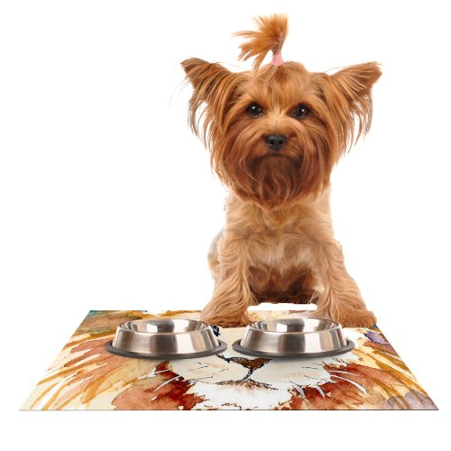 Kess InHouse Padgett Mason Leo  Feeding Mat for Pet Bowl, 18 by 13-Inch