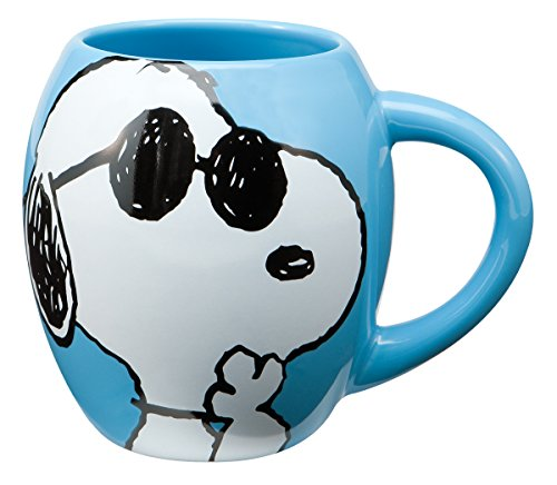 Peanuts Joe Cool 18 oz Oval Ceramic Mug, Blue