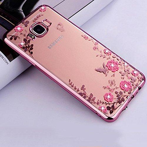 Great Deal! Galaxy S8 Plus Case, Galaxy S8 Plus TPU Bling Case,PHEZEN Pink Flower Butterfly Bling Cr...