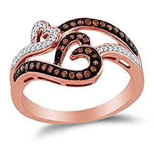 Size 7.5 - 10K Rose Gold Chocolate Brown & White Round Diamond Hearts Fashion Ring - Prong Setting (1/4 cttw.)