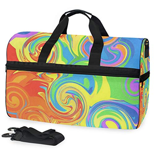 Gym Bag Abstract Rainbow Sport Travel Duffel Bag with Shoes Compartment Large Capacity for Men/Women