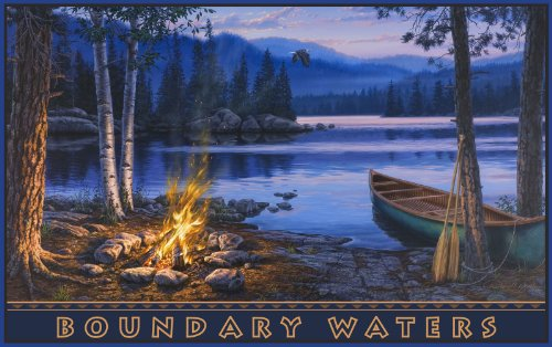 Northwest Art Mall Boundary Waters Lake Canoe Campfire Minnesota Artwork by Darrell Bush, 11-Inch by - America Minnesota Mall Of In