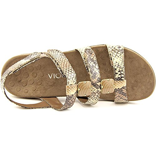 Vionic Womens 44 Rest Amber Synthetic Sandals Natural Snake