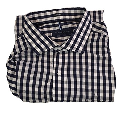tommy-hilfiger-mens-regular-fit-dress-shirt-navy-and-white-plaid