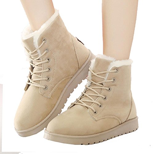 Women Ankle Short Martin Boots Leather Suede Plush Flat Heel Winter Warm Casual Shoelace Snow Cotton Shoes KHAKI-36 f4yR2