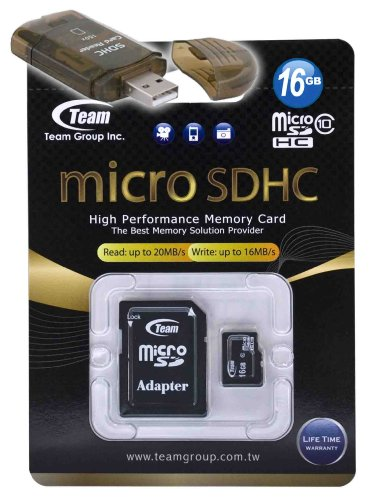 (16GB Class 10 MicroSDHC Team High Speed 20MB/Sec Memory Card. Blazing Fast Card For LG GU292 GW370 Rumour Plus. A free High Speed USB Adapter is included. Comes with Lifetime Warranty.)
