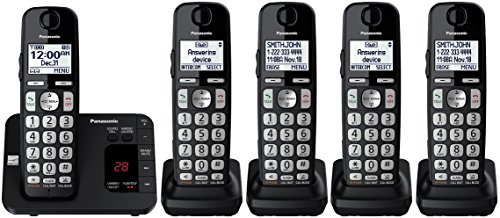 Panasonic KX-TGE433B plus two KX-TGEA40B handsets Cordless Phone with Answering Machine- 5 Handsets (Certified Refurbished)