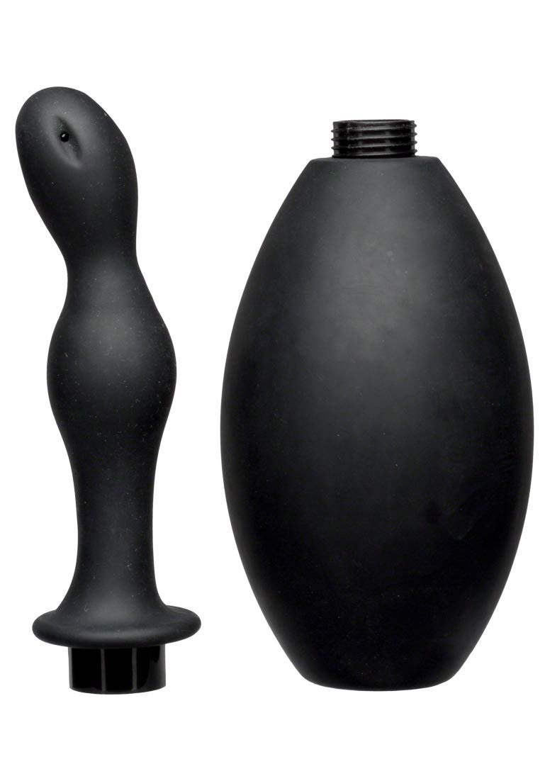 KINK By Doc Johnson Flow Flush Silicone Anal Douche & Accessory, Black