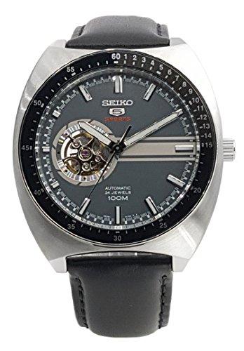 SEIKO 5 Sports 100M Retro Automatic Open Heart Calfskin Watch Grey SSA335K1