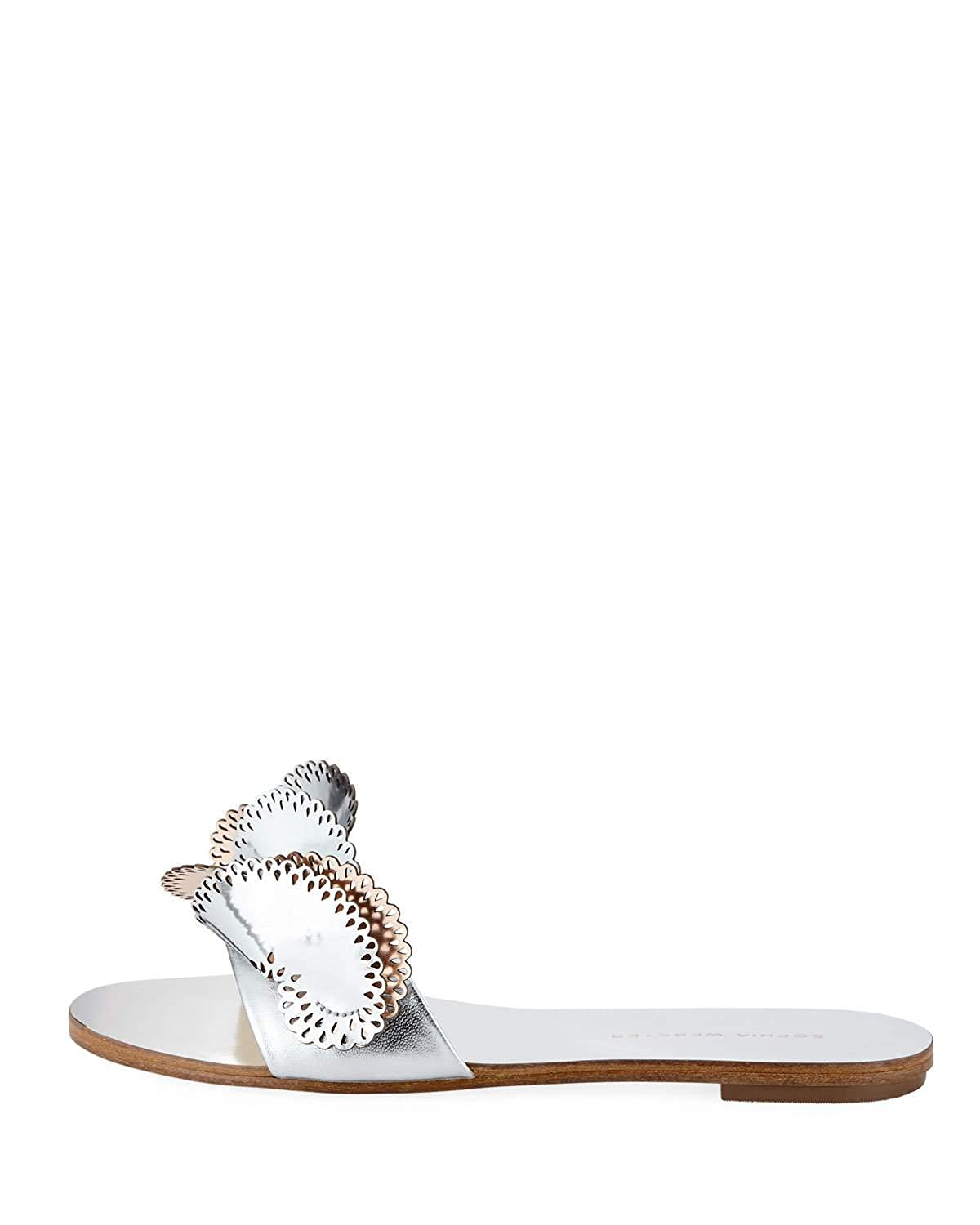 SOPHIA WEBSTER Soleil Embellished Mirror Leather Slide Sandals 37 Silver//Gold