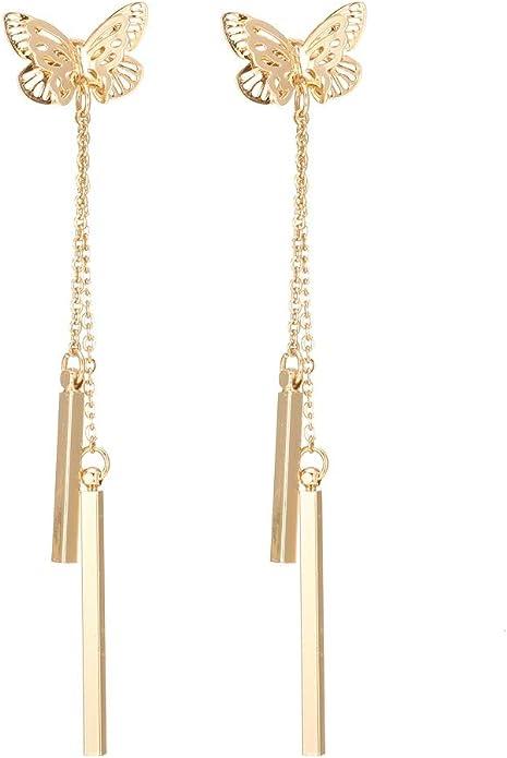 BUTTERFLY Antiqued Brass Bronze metal pierced dangle earrings Handcrafted