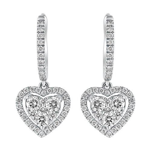 Olivia Paris 14k White Gold Diamond Open Halo Heart Drop Earrings (0.90 ctw, G-H, VS2-SI1) 0.86 Inch - Diamond Open Heart Earrings