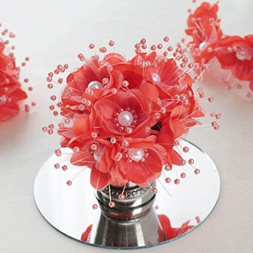 BalsaCircle 72 Coral Faux Pearl Craft Beaded Flowers – Mini Flowers for DIY Wedding Birthday Party Favors Decorations Supplies