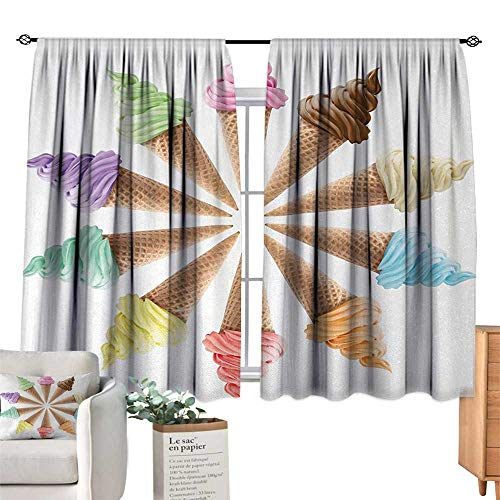 (Warm Family Sliding Curtains Ice Cream,Cones with Various Flavors Forming a Stylish Row Summer Season Picture Print,Multicolor Noise Reducing 63