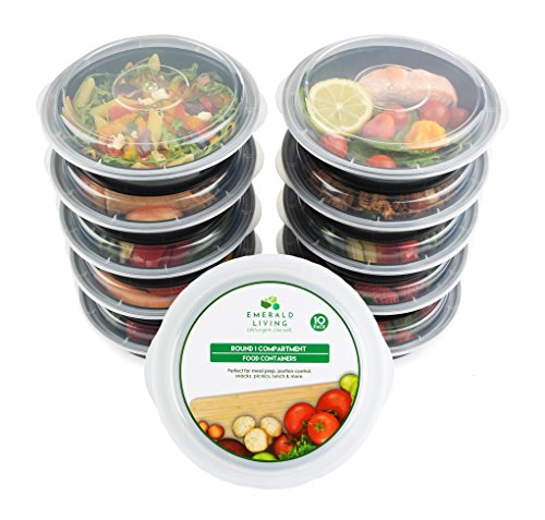 Dishwasher Safe Round Bowls - [10 pack] Round BPA Free Meal Prep Containers. Reusable Plastic Food Containers with Lids. Stackable, Microwavable, Freezer & Dishwasher Safe Bento Lunch Box Set + EBook [680 mL]