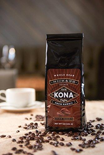 Mark & G's Kona Hawaiian Coffee Whole Bean Bag - Gourmet, 100% Estate Grown, Private Reserve, Hawaii Made, Fresh, Not a Blend, Premium, Raw, Great Hawaii Flavor, Gift Idea (Dark Roast, 16oz)