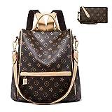 Backpack for women Fashion Leather Ladies Rucksack Crossbody Shoulder Bag 2pcs Purses Backpack Set (brown C)