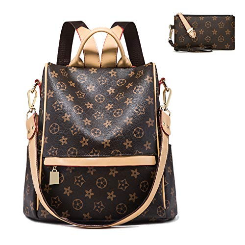 Backpack for women Fashion Leather Ladies Rucksack Crossbody Shoulder Bag 2pcs Purses Backpack Set (brown C) (Best Designer Purse Brands)