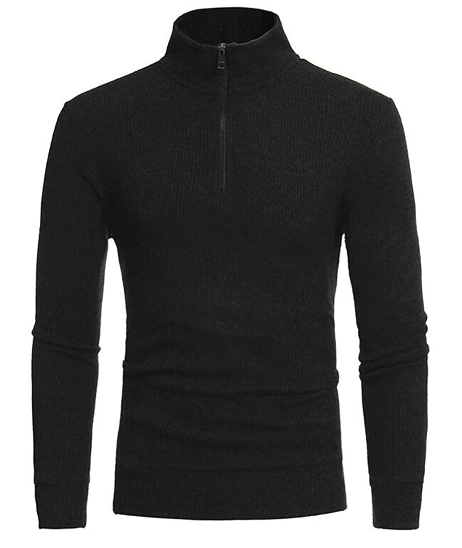 Hajotrawa Mens Knit Pullover Classic-fit Turtleneck Casual Sweaters