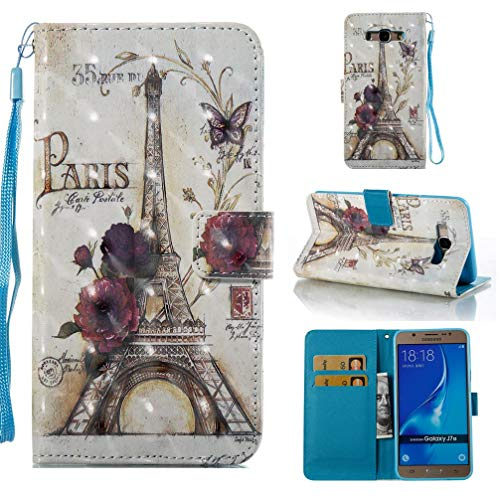 Case for Galaxy J710/J7 2016,Durable 3D Printing Inner Soft TPU Bumper Pu-Leather Wallet Case with Card Holder & Magnetic Closure Wrist Strap Compatible with Samsung Galaxy J710/J7 2016 -Tower ()
