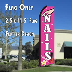NAILS (Pink/White) Flutter Polyknit Feather Flag (11.5 x 2.5 feet)