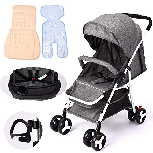 Baby Stroller Ultra Light Portable can sit Reclining Folding Trolley Baby Umbrella high Landscape Baby Stroller (Gray)