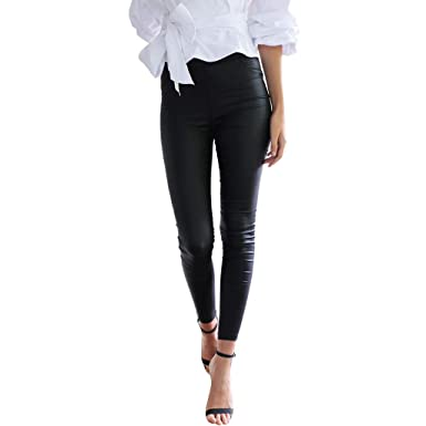 proveedor oficial niño gran colección Pantalones Mujer Chandal Tallas Grandes EláSticos ImitacióN Cuero con Falda  Pantalones Pitillo Negro Cintura Alta Medias