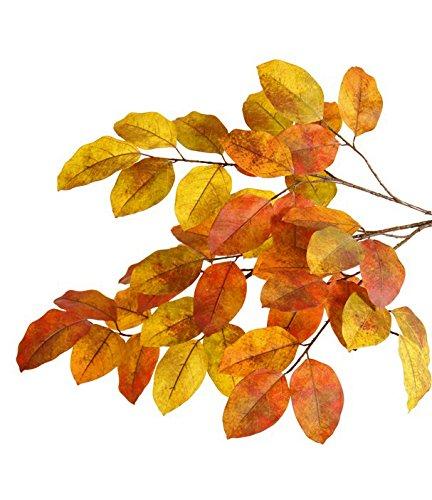 artplants Set 2 x Künstlicher Banyan-Zweig FARY, 45 Blätter, gelb-rot, 65 cm - Kunstzweig/Herbst-Dekoration 45 Blätter