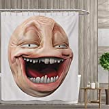 smallfly Humor Fabric Bathroom Decor Set with Hooks Poker Face Guy Meme Laughing Mock Person Smug Stupid Odd Post Forum Graphic Shower Curtains Waterproof 48''x84'' Peach and Pearl