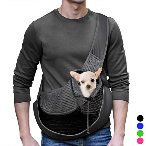 (YUDODO Reflective Pet Dog Sling Carrier Breathable Mesh Travel Safe Sling Bag Carrier for Dogs Cats (M up to 12lbs Black))
