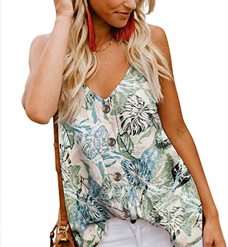 Jug&Po Women's Button Down V Neck Strappy Tank Tops Loose Casual Sleeveless Shirts Blouses ((US12-14) Large, Floral-Sky Blue)