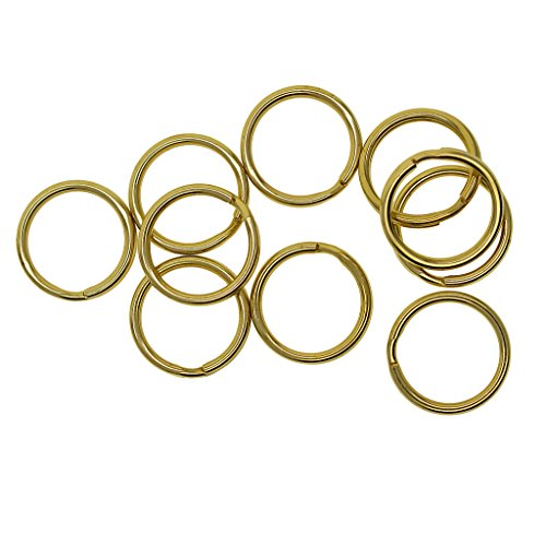 MagiDeal 10 Pieces Round Solid Brass Split Key Ring Chain Hook Hardware Keyrings Keyschains Connector Bag Charms Clasp 20mm ()