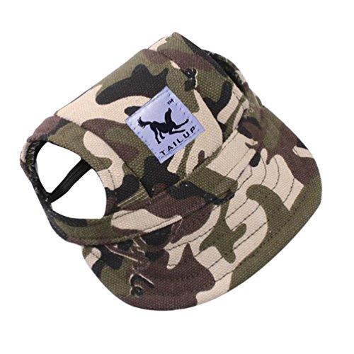 UMFun TAILUP Small Pet Summer Canvas Cap Dog Baseball Visor Hat Puppy Outdoor Cap (G, S:35cm/13.8
