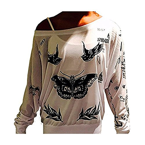Cristees Design Harry Styles Update Tattoo 1D One Direction Boy Band Off- The Shoulder Long Sleeve T- Shirt (Large, White)