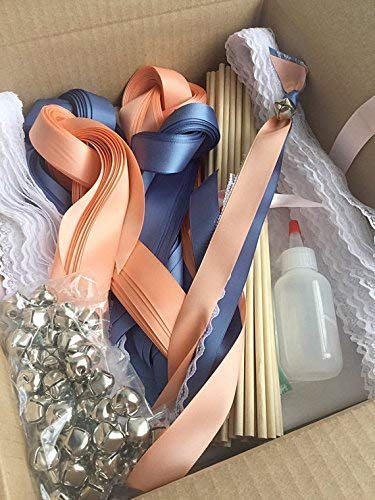 100 DIY Wedding wand kit ribbon send off your choice of colors ()