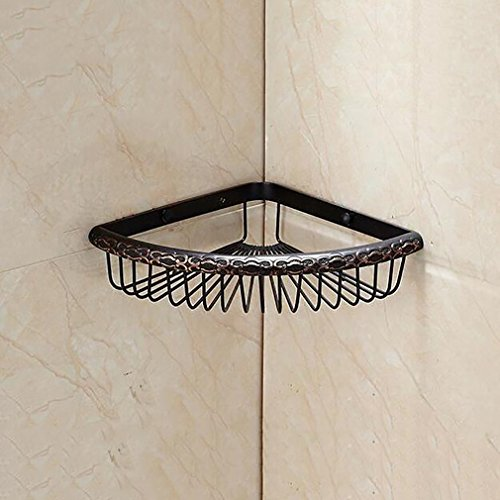 FeN Triangular Rack,Kitchen Storage Shelf,Brass Antique Torage Organizer Shelves,Bathroom Storage Basket Holder by FeN