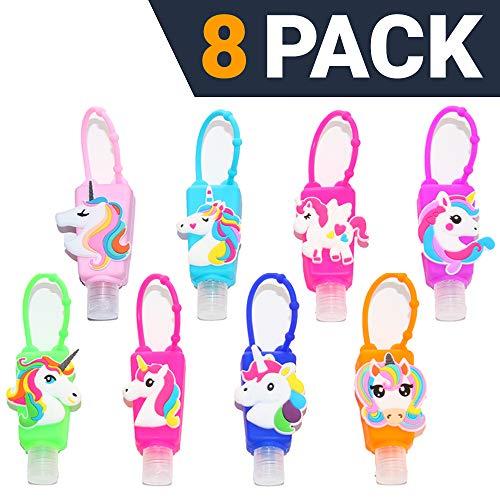KINIA 8 Pack Kids Unicorn  Hand Sanitizer Travel Sized Keychain Carriers - 8-1 fl oz Flip Cap Reusable Portable Bottles (8-Variety Pack UNICORN)
