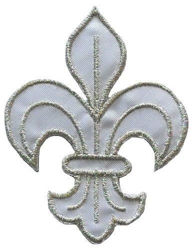 White-Silver Fleur de Lis Scout DIY Applique Embroidered Sew Iron on Patch (Fleur De Lis Patch)
