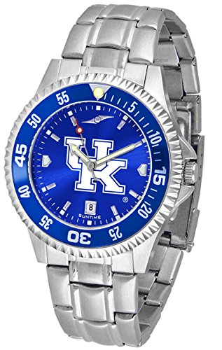 Kentucky Wildcats Competitor Steel Watch - New Linkswalker Mens Kentucky Wildcats Competitor Steel Anochrome Bezel Watch