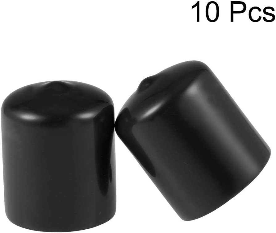 uxcell Rubber End Caps 33mm ID Round End Cap Cover Black Screw Thread Protectors 10pcs
