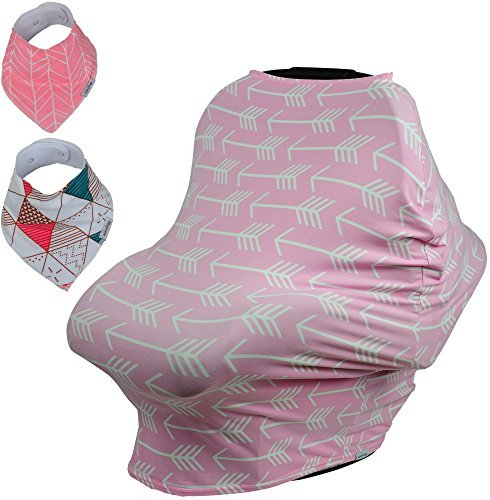 Funda para asiento de coche para bebé, funda de lactancia Bonus Bandana baberos y cordón con bolsa de transporte para...