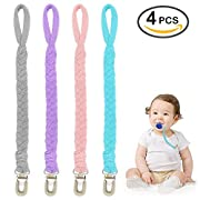 Pacifier Clip by Higo Babies Pack of 4, PremiumQuality for Girls Modern Designs Universal Holder Leash for Pacifiers, Teething Toy, Baby Shower Gift Set(Grey/Purple/ Pink/Teal)