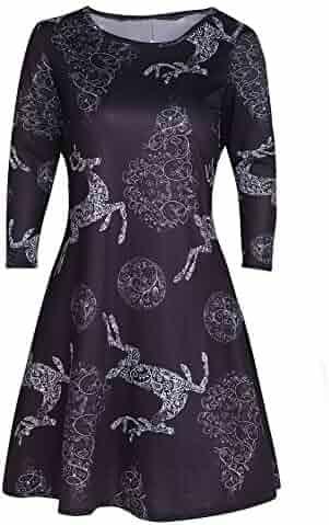 4c14e48f7 STORTO Plus Size Christmas Dress Womens Reindeer Print A Line Swing Dress